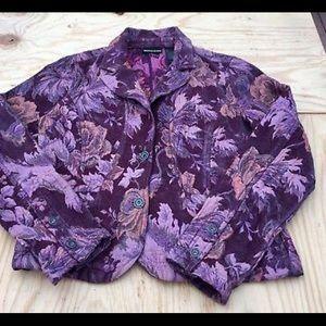 DKNY Jeans women's floralblazer Purple XL